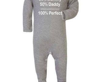 Baby Onesie 50% Mummy Daddy Perfect Romper-suit sleep-suit vest bodysuit baby-grow onesie Funny Novelty