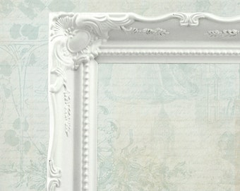 White Baroque Picture Frame Ornate Frame Vintage Style Frames White Frame French Frame Shabby Chic Frame 8x10 frame Farmhouse Cottage Chic