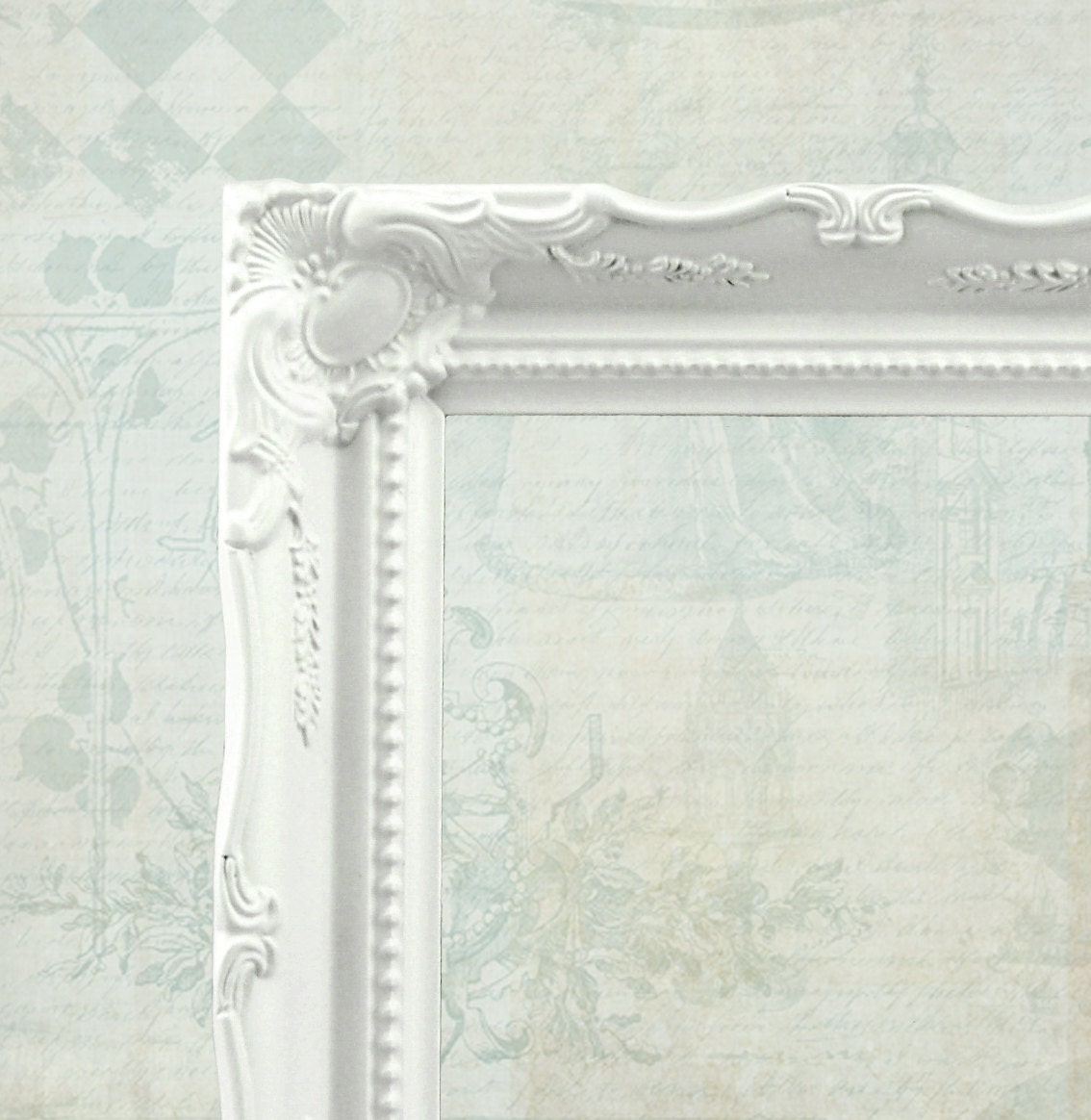 White baroque picture frame ornate frame vintage style for Bungalow style picture frames