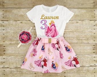 Sleeping Beauty Birthday Outfit, Sleeping Beauty Tutu, Personalized Aurora Shirt,Personalized Sleeping Beauty Shirt,Princess Birthday,Aurora