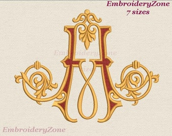Antique monograms from old books A 3. Embroidery design Letter A for initial. 7 sizes. Hoop 4x4 5x7 6x10 7x11. Wedding font A. Not alphabet