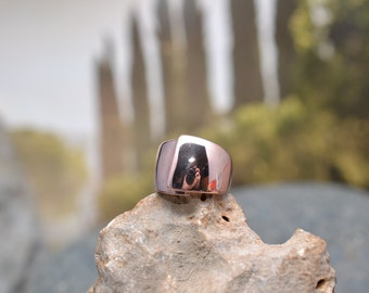 Modern Copper Wash over Sterling Silver Wide Band Ring