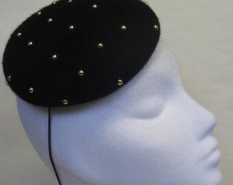 Gold Stud on Black Headpiece