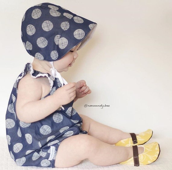 Baby Sun Bonnet Toddler Sun Bonnet Chambray Light Weight Denim Bonnet Modern Bonnet Polka Dot Bonnet