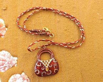 Handbag pendant, purse pendant, glass handbag pendant, handbag necklace,  quirky pendant, bronze glass pendant