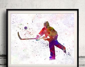 Hockey man player 04 in watercolor - poster watercolor wall art splatter sport illustration print Glicée artistic - SKU 2052