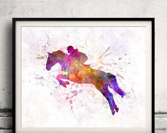 Horse Show 07 - Fine Art Print Glicee Poster Home Watercolor sports Gift Room Children's Illustration Wall - SKU 2233