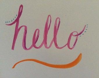 """Watercolor """"Hello"""" Note Card Set"""