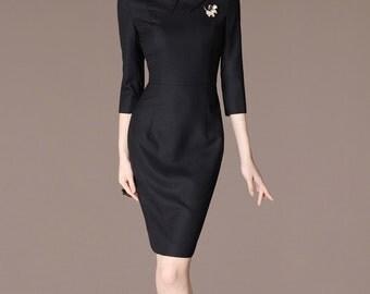 Mother of bride outfit- collared dress black, black formal dress, Peter Pan Collar-Audrey Hepburn, Long Custom Dress, Business Dress CA246