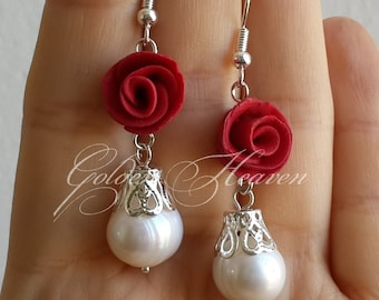 Red roses earrings red and white earrings roses and pearls earrings red flowers earrings 925 silver hooks cute gift for her jewelry
