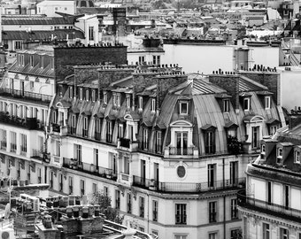 Paris photography, Paris rooftops, black and white photography, French wall art, Paris decor, home decor, fine art print