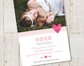 5x7 Valentines Day Mini Session - Valentine Photography Marketing Board - Love Minis - Boudoir Marketing Template - C032 - instant download