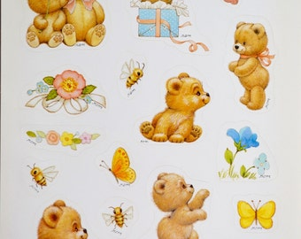 Vintage Ruth Morehead Bear Stickers -  Full Sheet