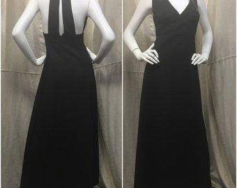 Vintage Halter Maxi Dress Black // Long Formal Dress Sleeveless Size Small Medium 1960s 1970s