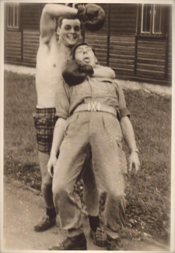 1960 Porn 1960 Original Vintage French Amateur Wrestler Outdoor Funny Fight RARE Comical Snapshot Nude Man Gay Interest