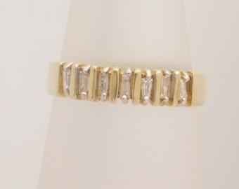 0.25 Carat T.W. Ladies Baguette Cut Diamond Band 14K Yellow Gold Ring