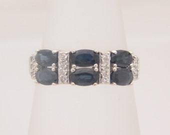 OVAL BLUE SAPPHIRES A Diamond Band 14K White Gold