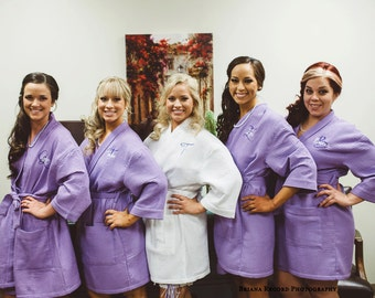 Personalized Waffle Weave Robes, Monogrammed Bridesmaid Robes, Waffle Robes, Bridal Party Robes, custom spa robes, getting ready robes