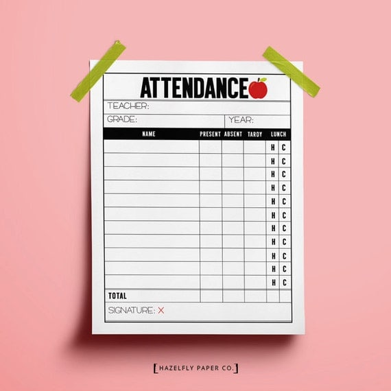 Pretend Teacher Worksheets : School teacher attendance sheet printable play