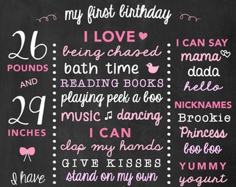 Birthday Stats Poster for Girls One Year Birthday Party, 1st Birthday Chalkboard Sign, Baby One Year Old Board, Pink and Purple Birthday