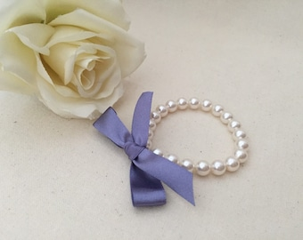 Little Girl Pearl Bracelet with deep lilac ribbon for flower girls, toddler birthday, babies photo prop, birthday girl, birthday party