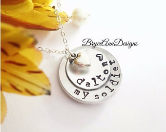 I love my Soldier, Army Girlfriend, Military Wife, Army Wife, My Soldier Necklace, Deployment Jewelry, Military Necklace, Military Couples
