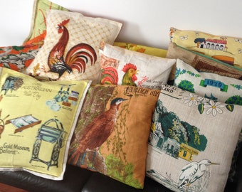 Vintage tea towel cushions
