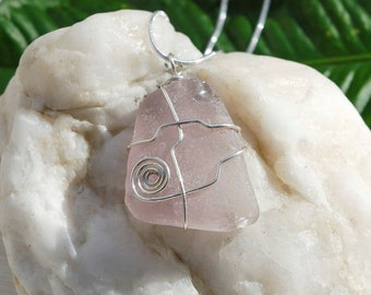 Lavender Sea Glass Sterling Silver Necklace