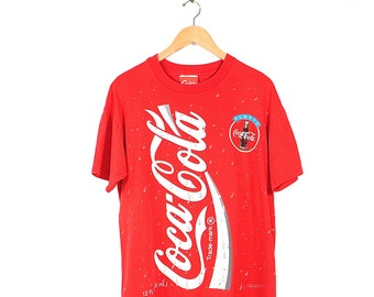 Vintage Coca-Cola T-Shirt - 90s Coca-Cola All Over Print Red T-shirt- 1994 Normcore Grunge Coke T-shirt Made in USA
