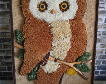 Yarn Art, Owl Decor, Vintage Owl Art