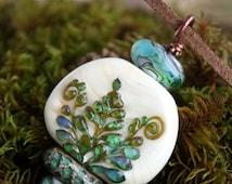 Glass lampwork pendant with fern, Lampwork fern pendant , Plant necklace, Lampwork pendant , Glass beads, Lampwork jewelry