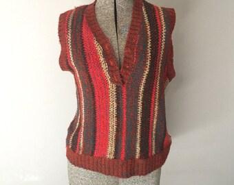 Womens Sweater Vest 70s 60s Autumn