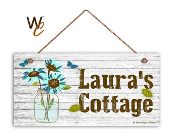 """Cottage Sign, BLUE Garden Flowers in Mason Jar, Personalized Sign, Custom Name Change, Great Gift, Weatherproof 5"""" x 10"""" Sign,"""