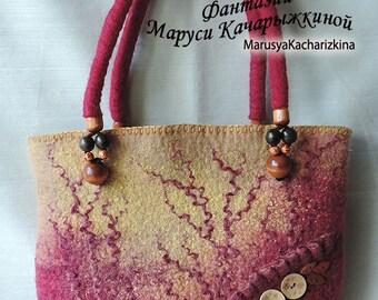 Handmade felted purse, Top handle bag, Wool Purse, Felted handbag, Shoulder bag, Red