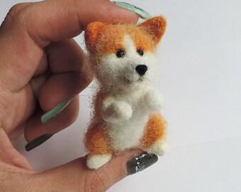 Handmade Needle felted dog, Miniature dog, Tiny dog, Miniature pet, Felted toy dog, Sculpture dog