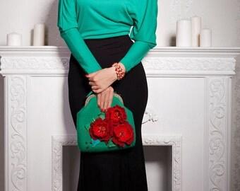 Felted wool purse-Felted wool bag-Felt handbag-green,red-Ready to ship