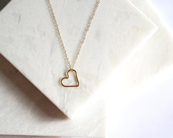 Floating Heart Layering Necklace, Gold Heart Necklace, Minimalist Long Necklace, 14K Gold Filled Delicate Layering Necklace