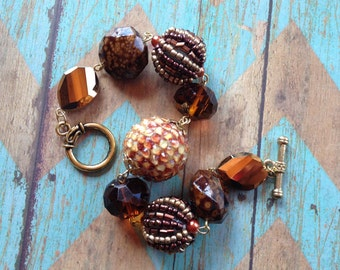 Brown Beaded Bracelet, Beaded Bracelet, Brown Bracelet, Beaded Jewelry, Gift For Her