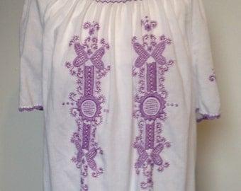 Hippy, Folk, Boho, embroidered, tunic top, 1970s size 10-12 (uk)