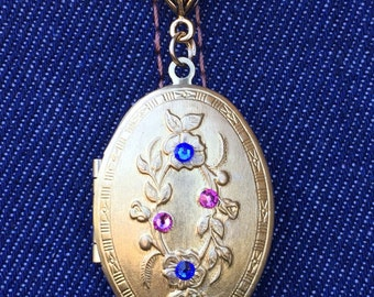 Flowers of the Renaissance Vintage Antique Brass Locket Mother's Day