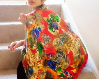 Red Gold Kimono Wrap Cardigan, Kimono Jacket, Valentines Day, Womenswear, Holiday Gifts, Wedding Bridal Party