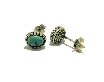 Tibetan Turquoise Silver Stud Earrings, December Birthstone Earrings, Cabochon Earrings, Natural Stone Earrings, Turquoise Studs