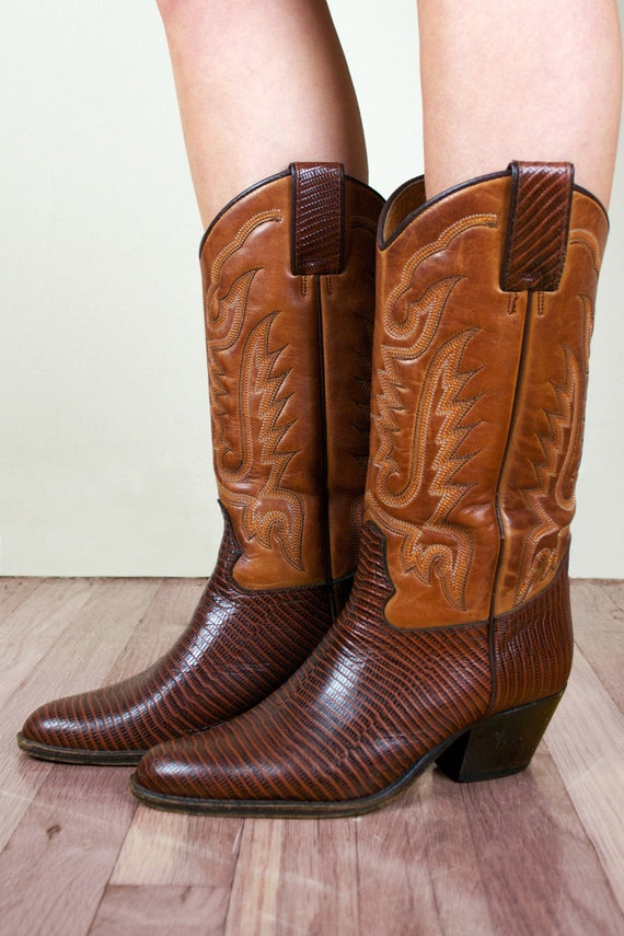 Tan Brown Leather Western Cowboy Boots + FREE GIFT with PURCHASE