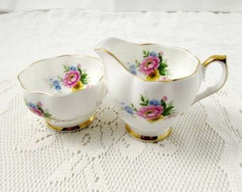 Queen Anne Cream and Sugar with Flowers, Vintage Bone China