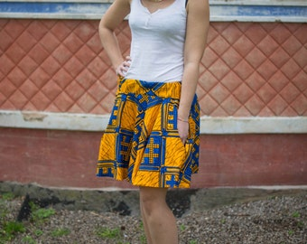 GONNA A RUOTA in stoffa Africana / Women's flared skirt in African Fabric