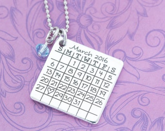 Custom Engraved Save the Date Calendar Necklace with Birthstone Stainless Steel Chain - Engraved Jewelry