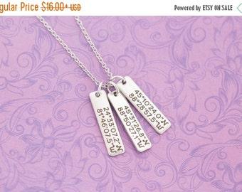 Engraved Bar Necklace - Latitude Longitude Necklace - Mommy Jewelry - Engraved Jewelry - Engraved Necklace - Coordinates - Engagement