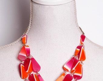Waterfall Choker, resin beads with pink and orange stripes_II