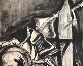 Vintage Ink/Pastels Painting Modernist Still Life