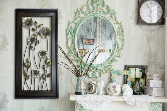 Wood Framed Metal Wall Art Metal Wall Art Wood Framed Flowers Mirrors Home Decor Large